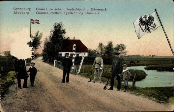 Ak Skodborg Vejen Dänemark, Grenze zwischen Deutschland und Dänemark