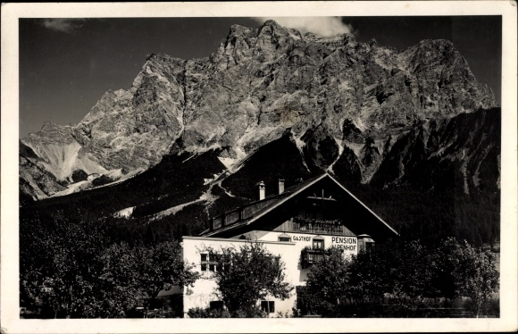 Ak Ehrwald in Tirol, Gasthof und Pension Alpenhof, Gebirge