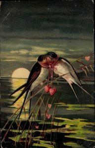 Präge Ak Zwei Schwalben auf einem Zweig, Herzen, Nachtszene