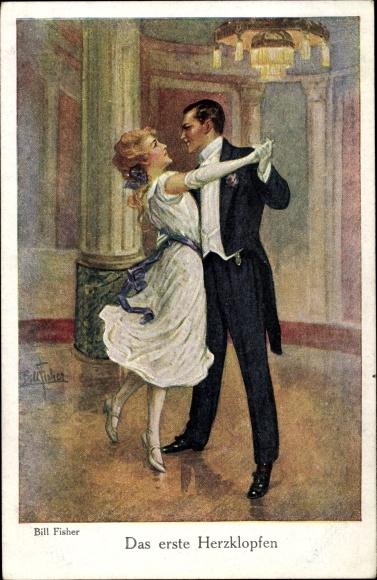 Künstler Ak Fisher, Bill, Das erste Herzklopfen, Paar beim Tanz, Kleid, Anzug