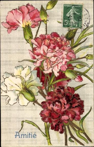Präge Litho Amitie, Nelken, rote, weiße und rosa Blüten, Blumen