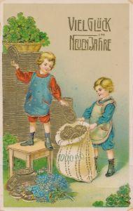 Präge Litho Glückwunsch Neujahr, Kinder mit Münzen, Geldsack, Kleeblätter
