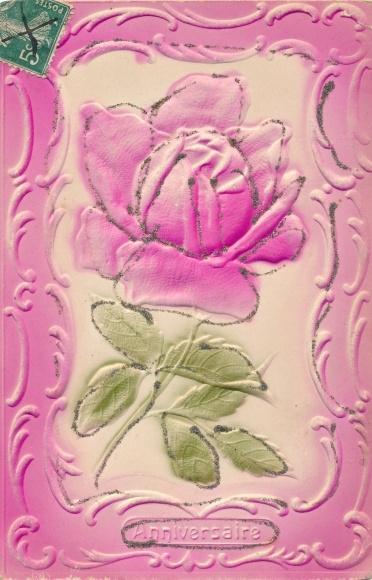 Prage Ak Madchen Verteilt Rosa Rosen Gluckwunsch Zum Geburtstag Nr