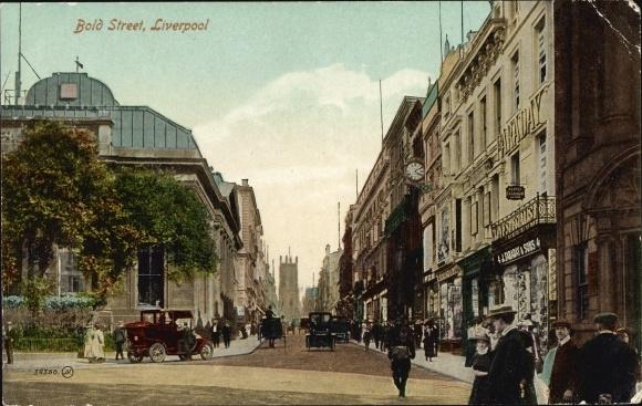 Ak Liverpool Merseyside England, Bold Street, Faraday & Sons, Diamonds, Straßenpartie