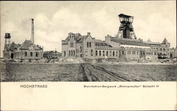 Ak Hochstraß Moers am Niederrhein, Steinkohlen Bergwerk Rheinpreußen, Schacht IV