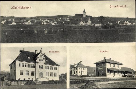 Ak Ziemetshausen bayr. Schwaben, Schulhaus, Bahnhof