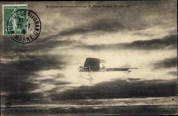Ak Monoplan Antoinette piloté par M. Hubert Latham, en plein vol, Flugzeug