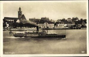 Ak Überlingen am Bodensee Baden Württemberg, Dampfer Stadt Konstanz, Hafen, Kirche