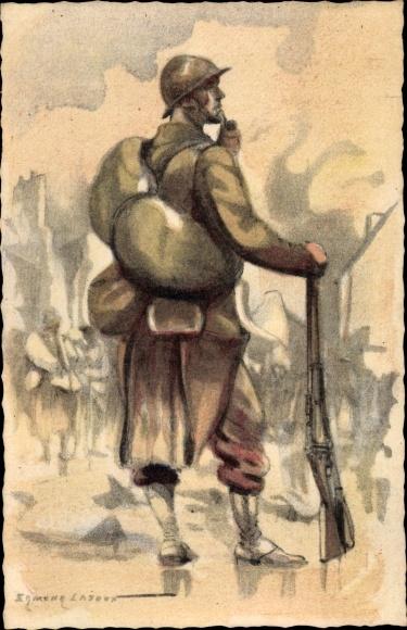 Künstler Ak Lajoux, Edmond, Armee Francaise de la Liberation, Fantassin, Frazösischer Soldat, II. WK