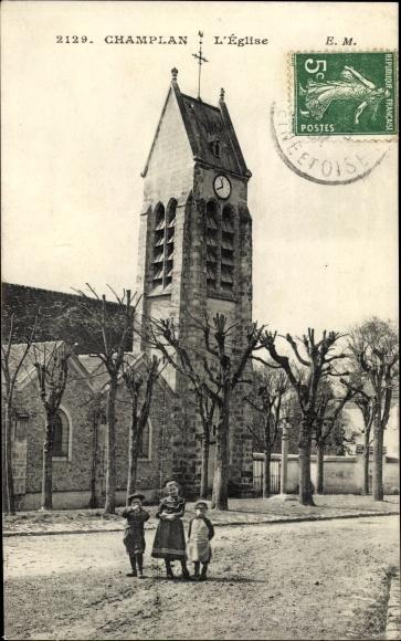 Ak Champlan Essonne, L'Eglise, Kinder vor der Kirche