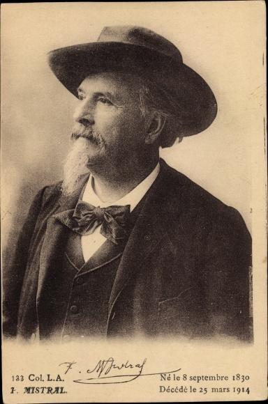 Ak Französischer Dichter Frederic Mistral, 1830 - 1914, Portrait, Nobelpreis für Literatur