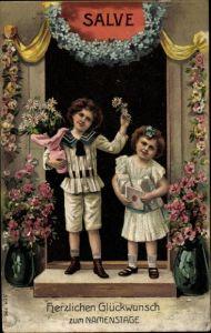 Präge Litho Glückwunsch Namenstag, Kinder mit Blumen, Hauseingang, Salve