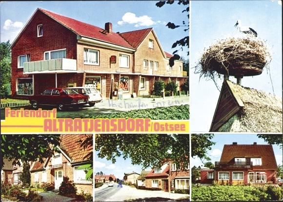 Ak Altratjensdorf Riepsdorf Ostholstein, Feriendorf, Geschäft, Storch im Nest