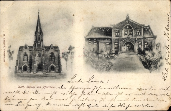 Ak Twistringen Niedersachsen, Kath. Kirche und Pfarrhaus