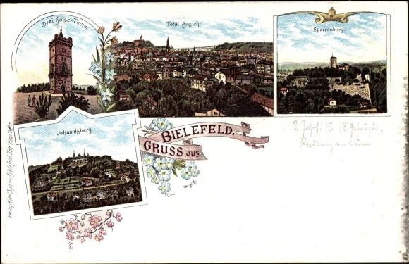 Litho Bielefeld in Nordrhein Westfalen, Totalansicht, Drei Kaiser Turm, Sparrenburg, Johannisberg