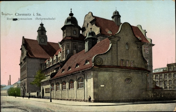 Leuchtfenster Ak Chemnitz Sachsen, Realprogymnasium, Reformschule, Gesamtansicht, Straßenseite