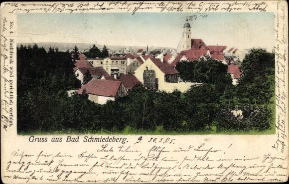 Ak Bad Schmiedeberg der Dübener Heide, Blick über die Dächer der Stadt, Kirche