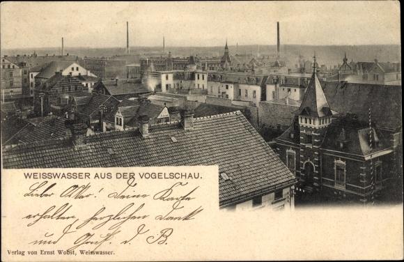 Ak Weißwasser der Oberlausitz, Aus der Vogelschau, Blick über die Dächer der Stadt