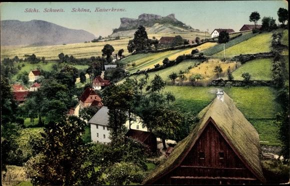 Ak Reinhardtsdorf Schöna in Sachsen, Teilansicht mit Kaiserkrone