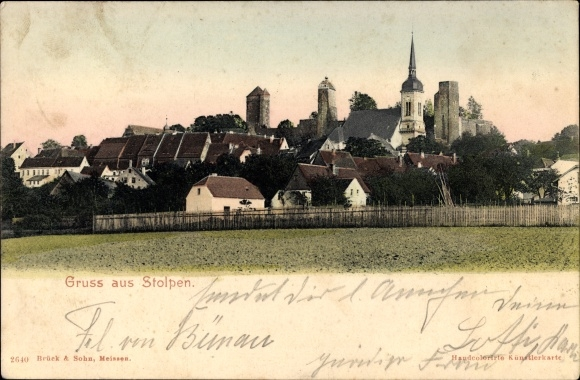 Ak Stolpen in Sachsen, Blick auf den Ort, Kirche