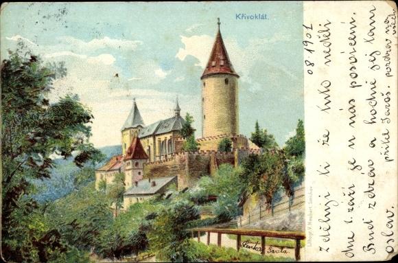 Künstler Ak Křivoklát in Mittelböhmen, Burg mit Turm und Kirche