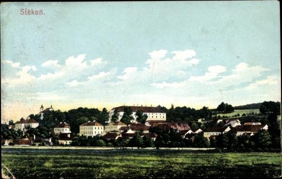 Ak Steken Südböhmen, Gesamtansicht der Stadt, Gebäude