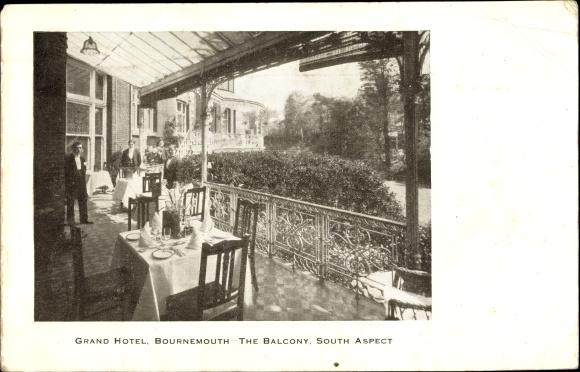 Ak Bournemouth South West England, Grand Hotel, The Balcony, South Aspect, Kellner