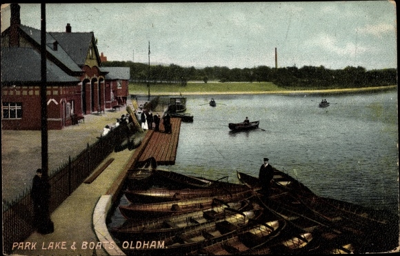 Ak Oldham North West England, Park Lake and Boats, Anlegestelle am See