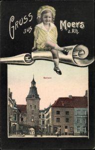 Passepartout Ak Moers am Niederrhein, Rathaus, Mädchen