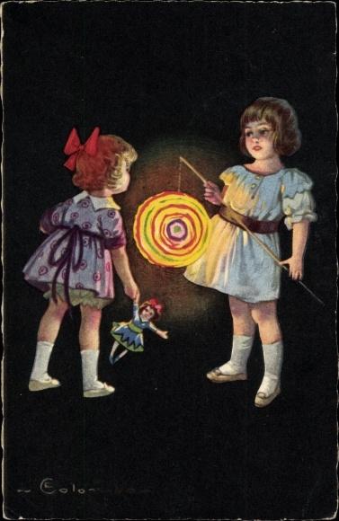 Künstler Ak Colombo, E., Kinder mit einer Laterne, Puppe