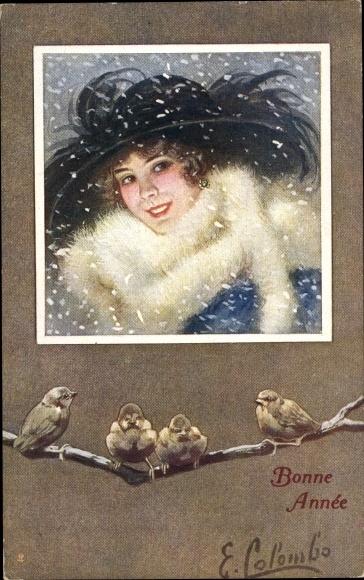 Künstler Ak Colombo, E., Glückwunsch Neujahr, Frauenportrait, Spatzen