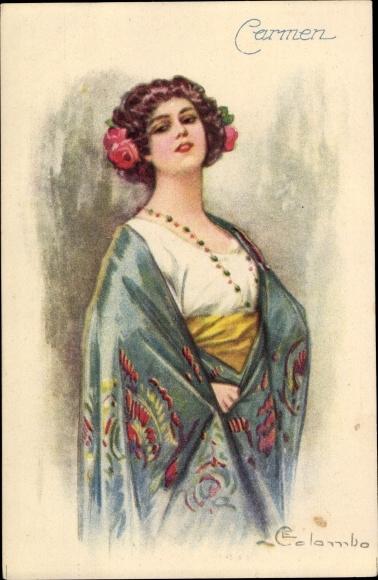 Künstler Ak Colombo, E., Carmen, Junge Frau, Portrait