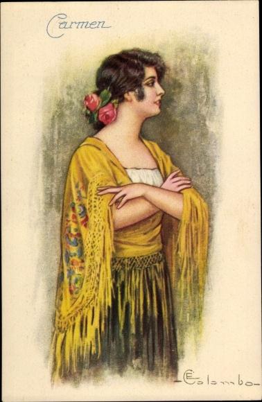 Künstler Ak Colombo, E., Junge Frau, Carmen, Portrait