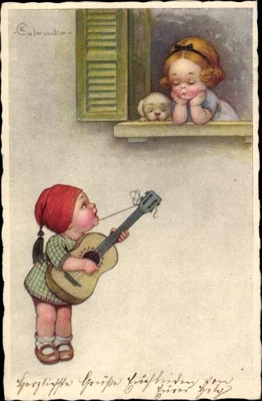 Künstler Ak Colombo, E., Ständchen am Fenster, Gitarre, Gesang