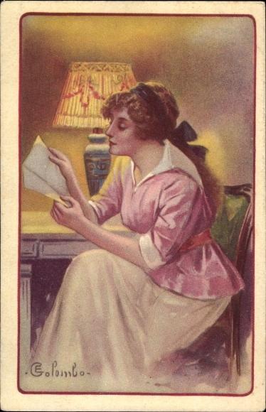 Künstler Ak Colombo, E., Junge Frau, Tischlampe, Lesend