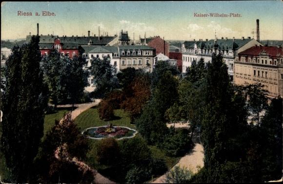 Ak Riesa an der Elbe Sachsen, Kaiser Wilhelm Platz, Parkanlage