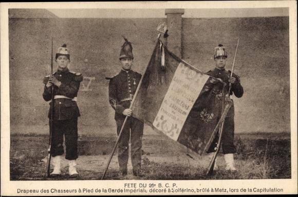Ak Fête du 25e BCP, Drapeau des Chasseurs à Pied de la Garde Impériale
