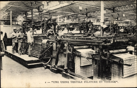Ak Une Usine Textile Filature et Tissage, Webmaschinen, Mechaniker