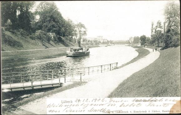 Ak Lübeck in Schleswig Holstein, Elbe Trave Kanal, Partie mit der Fähre