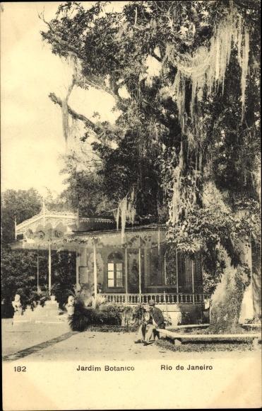 Ak Rio de Janeiro Brasilien, Jardim Botanico, Botanischer Garten, Pavillon und Baum
