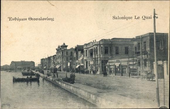 Ak Thessaloniki Griechenland, Le Quai, Barques, Passants