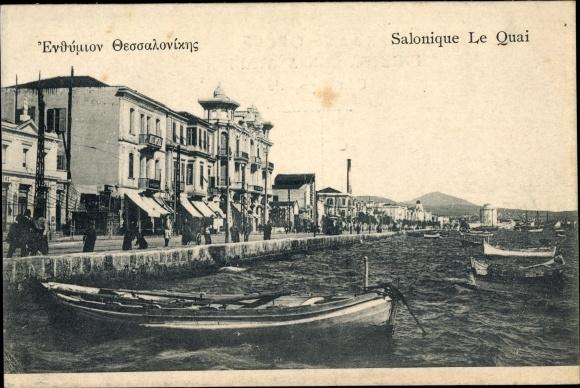 Ak Thessaloniki Griechenland, Le Quai, Barques