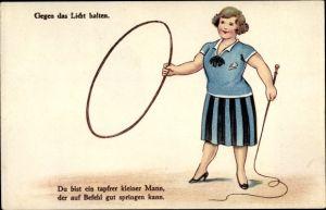 Halt gegen das Licht Litho Mann springt durch Reifen, Frau mit Peitsche als Dompteuse