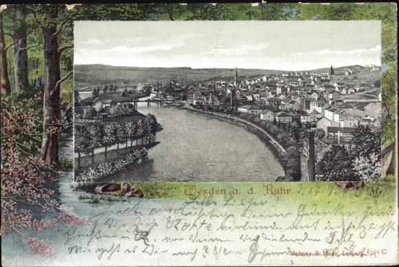 Ak Essen Werden im Ruhrgebiet, Panorama vom Ort, Uferpartie