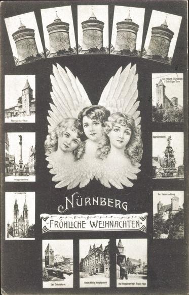 Passepartout Ak Nürnberg in Mittelfranken Bayern, Türme, Lorenzkirche, Engel, Kriegerdenkmal