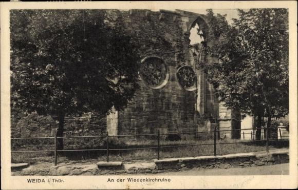 Ak Weida Thüringen, Ruine der Weidenkirche, Kirchenruine