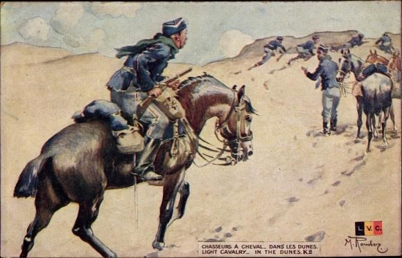 Künstler Ak Chasseurs à Cheval dans les dunes, Belgische Soldaten, Pferde
