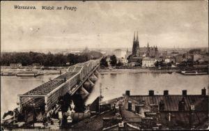 Ak Warszawa Warschau Polen, Widok na Prage, Most, Weichselbrücke