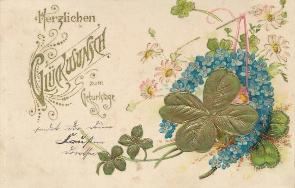 Präge Ak Glückwunsch Geburtstag, Kleeblätter, Blumen