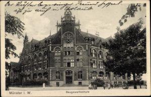 Ak Münster in Westfalen, Baugewerkschule, Gesamtansicht